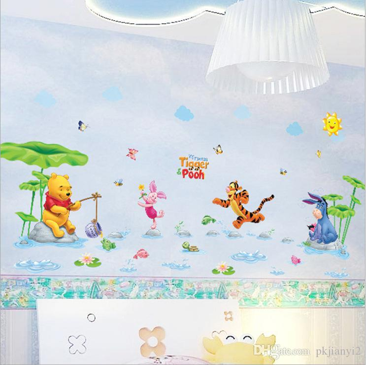 Environmental Removable Wall Stickers Winnie The Pooh Sticker AM7020 A Rain  River Swimming Part 73