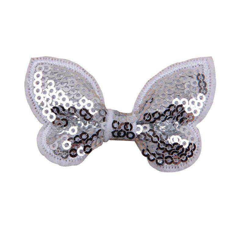 "Nishine 2.2"" Embroideried Sequin Bows For Kids Headband Hair Clip DIY Shine Hair Bow Hair AccessoriesColor:"