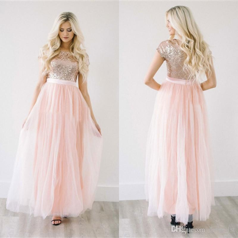 Latest 2017 Light Peach Tulle Sequined Top Bridesmaid Dresses Long ...