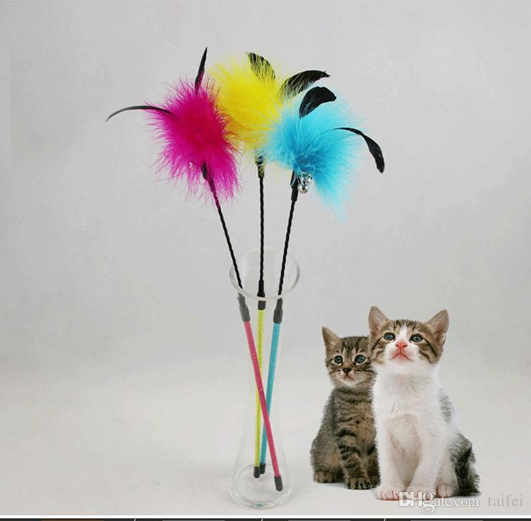 49CM Feathers Cat Teaser Toy Rod Bell Toy Scratching Toys Feather Toy With Bell Pretty Color