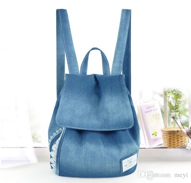 Women Backpacks Female Jeans Lace Shoulder Retro Sport Bag Denim ... b70118d2b3