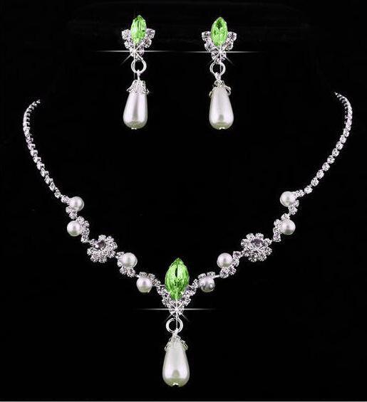 Conjunto de jóias de dama de honra para o casamento pérolas do falso colar de strass brincos de gota de água conjunto de jóias de festa de jóias