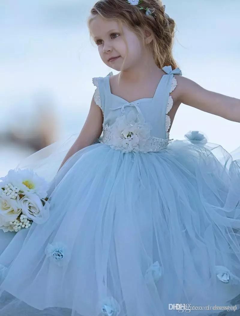 Nyaste ljus himmel blå blomma tjejer klänningar för bröllop golv längd tulle barn boll klänning formell slitage ärmlös tjej pageant klänning