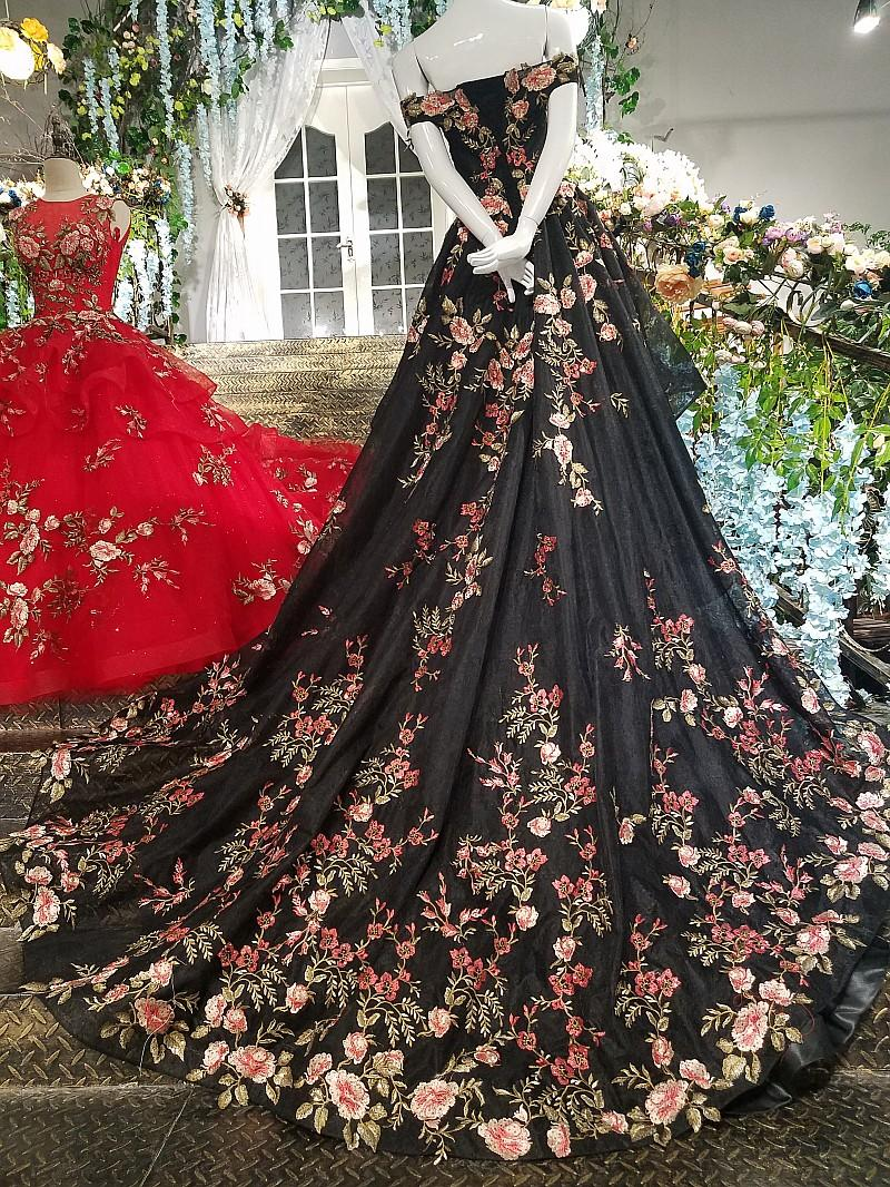 LS00183 sleeveless beautiful patterns evening dresses sexy new turkish red and black porm party evening dresses