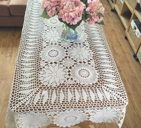 Handmade table cover Vintage style chic floral crochet pattern rectangular table cloth crochet, oblong tablecloth handmade ad034