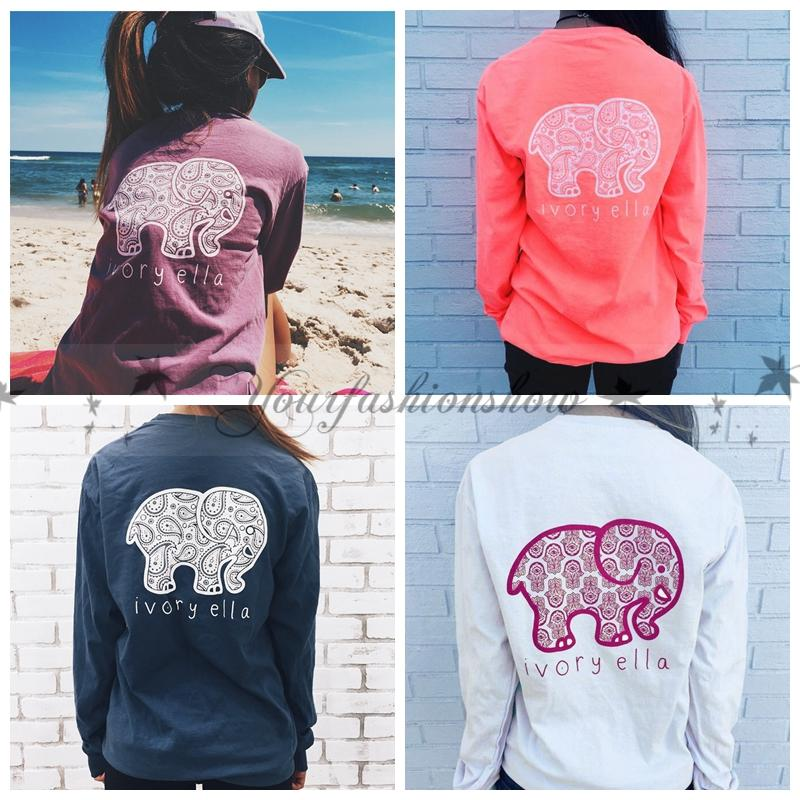 98b5e074b48f 2019 New Summer Ivory Ella T Shirt Womens Clothing Tee Print Animal Elephant  T Shirt Loose Long Sleeve Women Harajuku Tops M458 From Yourfashionshow, ...