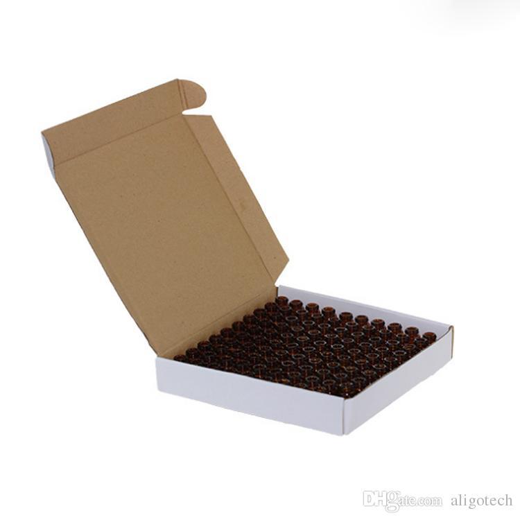 100 sztuk / pudełko papierowe 1 ml 2ml Bursztynowe Mini Szklane Butelki Wyświetlacz Essential Oil Fiolka 1CC 2CC Małe Perfumy Brązowe Próbka Pojemnik Darmowa Wysyłka