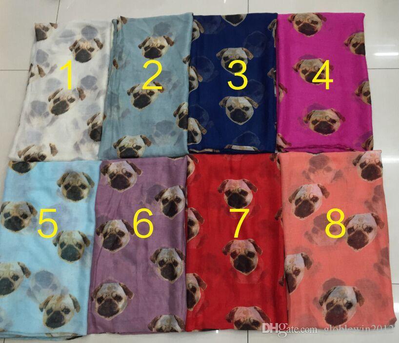 New Pug Print Scarves Shawls Women Fashion Dog Head Print Scarf Wrap Hijab Animal Scarf Beautiful Muffler