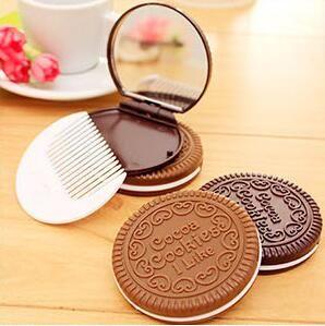 Tarak Makyaj Araçları 2 renk i gibi Mini Sevimli Kakao Çerezler kompakt ayna cep taşınabilir el aynası