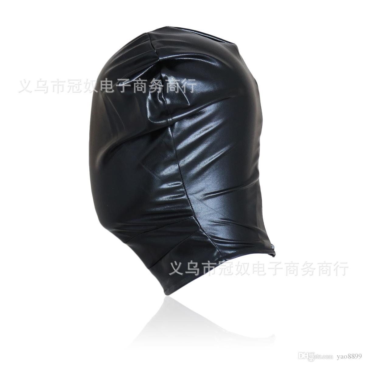 High quality leather bondage hood full mask fetish face mask cap sex toys sex slave game for adults bondage device Q885