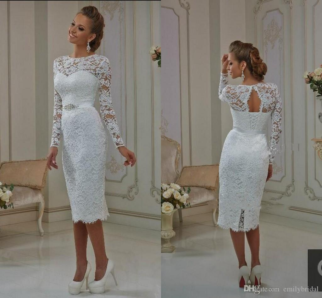 Modest Knee Length Sheath Wedding Dresses Full Lace With Long ...