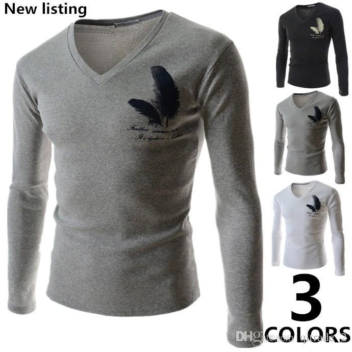 Großhandelsmänner 2016 Frühling neue Männer langärmliges dünnes passendes T-Shirt Federdruck T-Shirt Grundierung Shirt