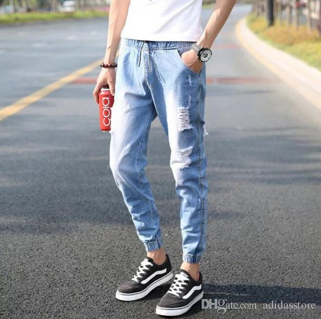 2018 2016 Summer Style Ripped Jeans Men Fashion Casual Mens Jogger Jeans Hip Hop Baggy Jeans