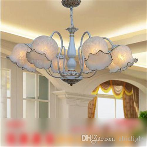 LRE024-Hot Sale CE/UL Certificate European Glass Chandelier American Country Restaurant Bedroom Iron Glass Pendant Lamps