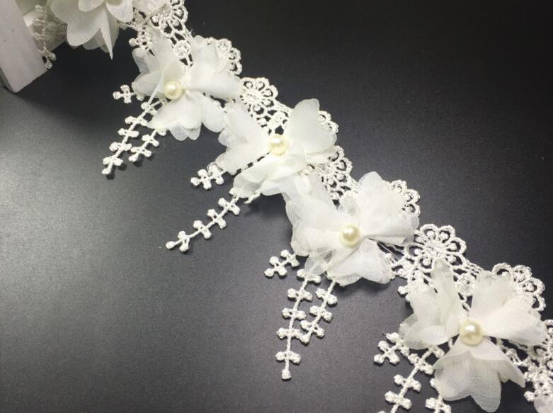 15 Yard White Pearl Perle Blume Chiffon Spitze Stoff Trim Band für DIY Braut Hochzeit Puppe Cap Haarspange