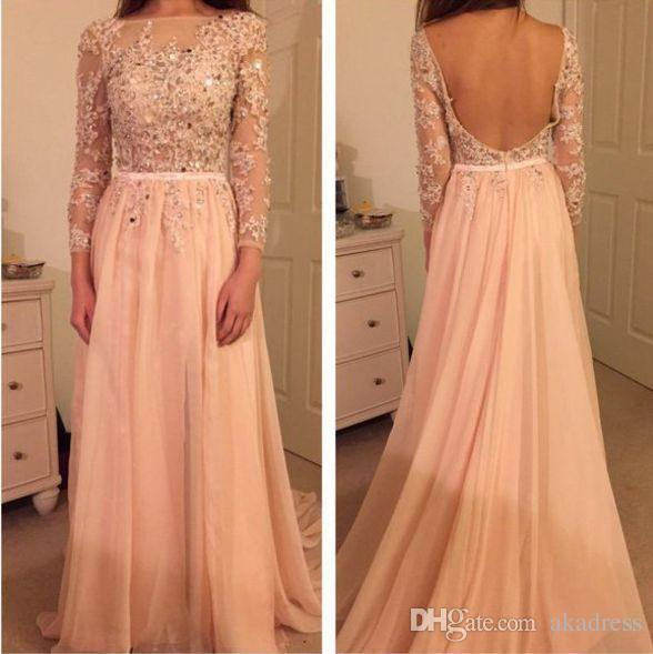 Couture Peach Evening Dresses Backless Applique Lace Beaded Sash ...