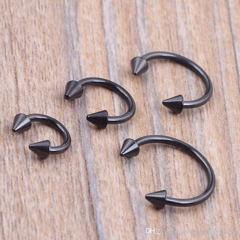 1.2*6/8/10/12*3m Titanium Anodized Stainless Steel Black Circular Barbell Septum Piercing Balls Horseshoe Lip Nose Ring