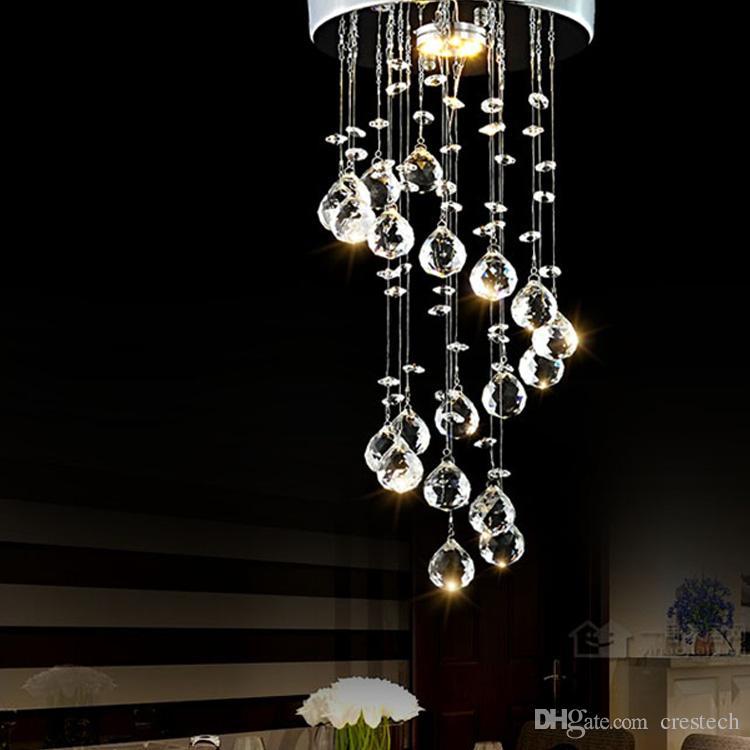 Iluminación colgante moderna Iluminación de techo araña de bolas de cristal Lámparas de araña de gota de espiral Luces de escalera para escalera