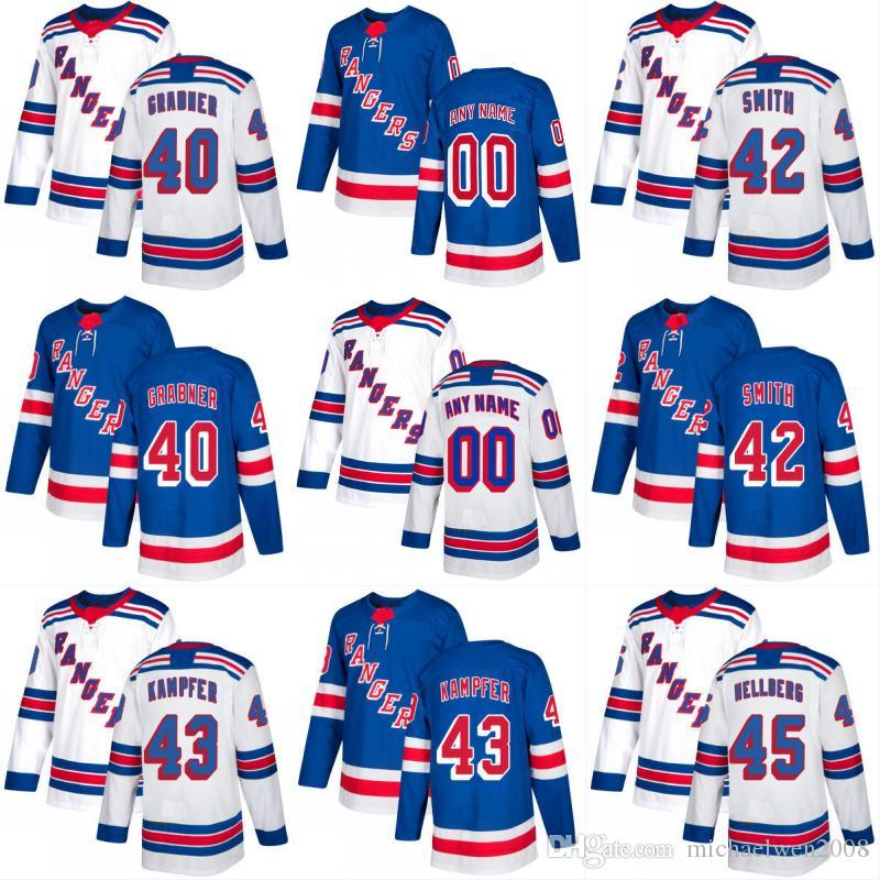 2017 2018 Season New York Rangers Jersey 40 Michael Grabner 42 Brendan  Smith 43 Steven Kampfer 45 Magnus Hellberg Custom Hockey Jerseys UK 2019  From ... 1660b2bfff0