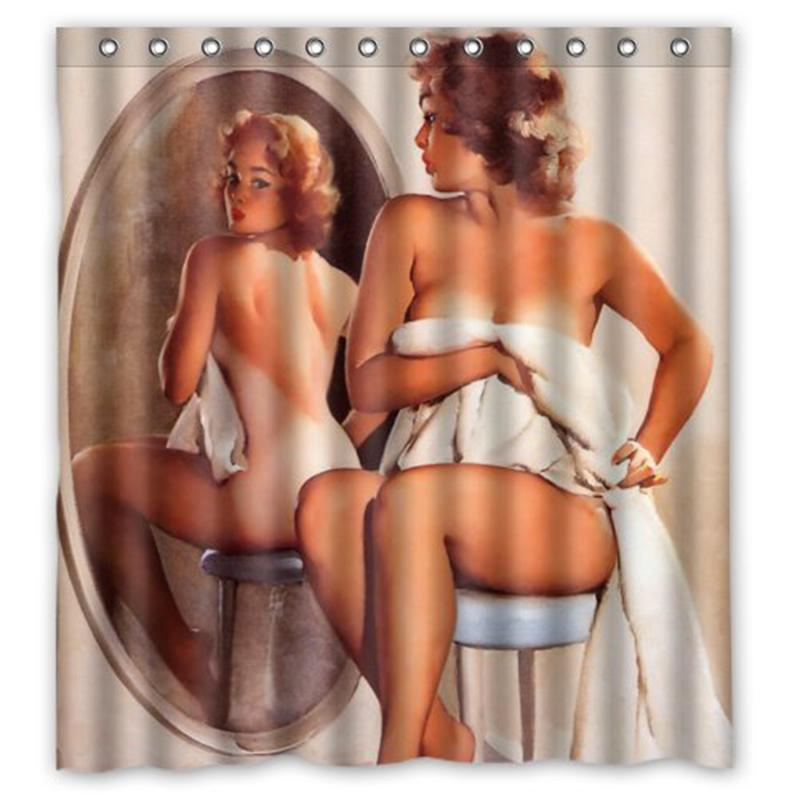 naked girl shower curtains