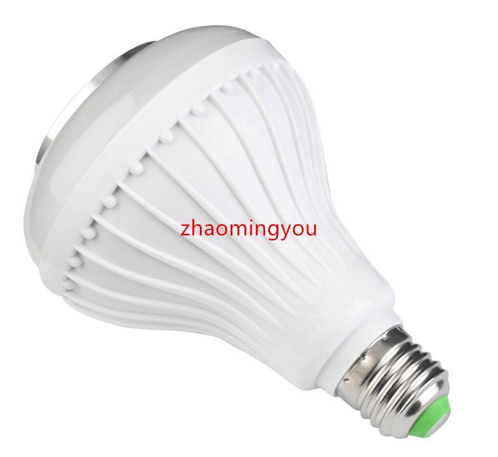 무선 E27 12W 블루투스 원격 제어 미니 스마트 LED 오디오 스피커 RGB 색상 빛 따뜻한 전구 음악 램프