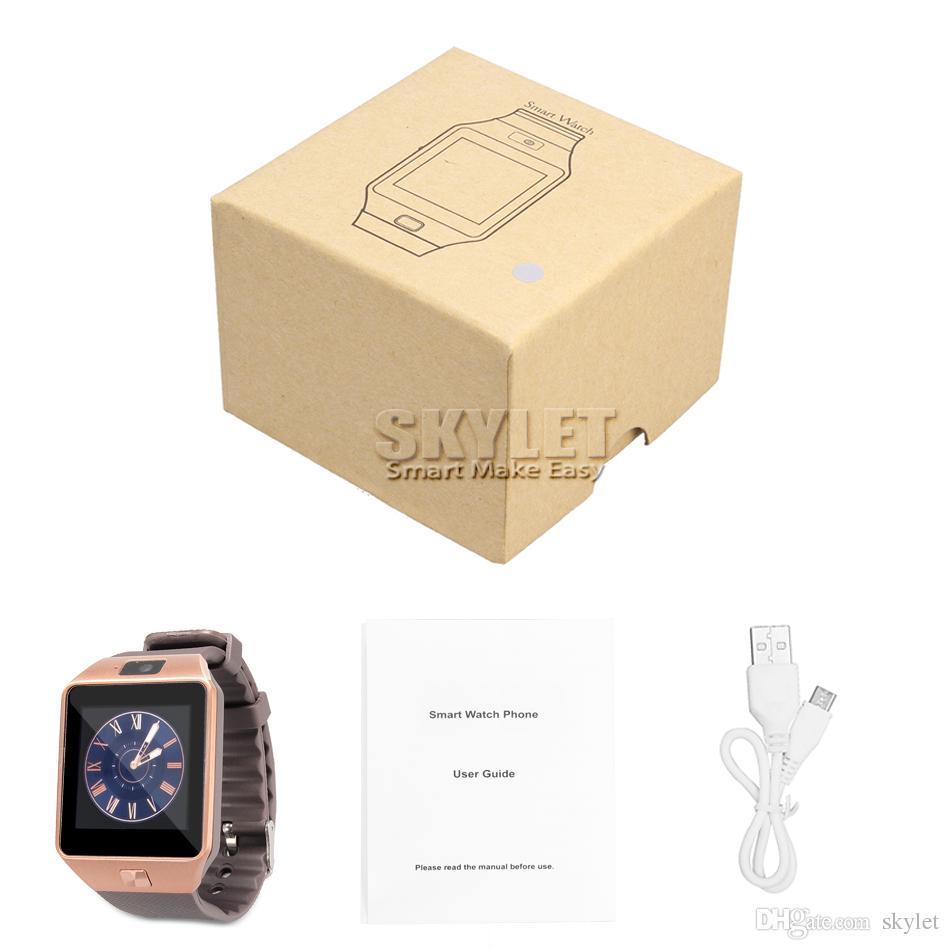Relojes inteligentes DZ09 inteligente SIM pulsera de reloj del deporte inteligente Android para Android Celulares relógio inteligente con baterías de alta calidad