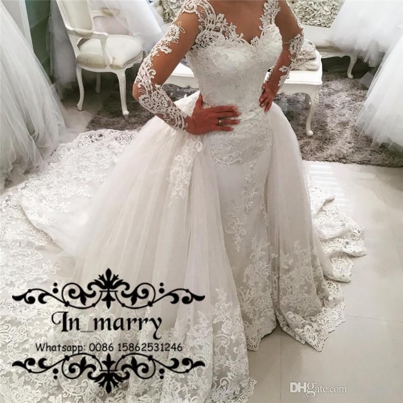 2017 Fall Plus Size Mermaid Overskirts Wedding Dresses Detachable ...