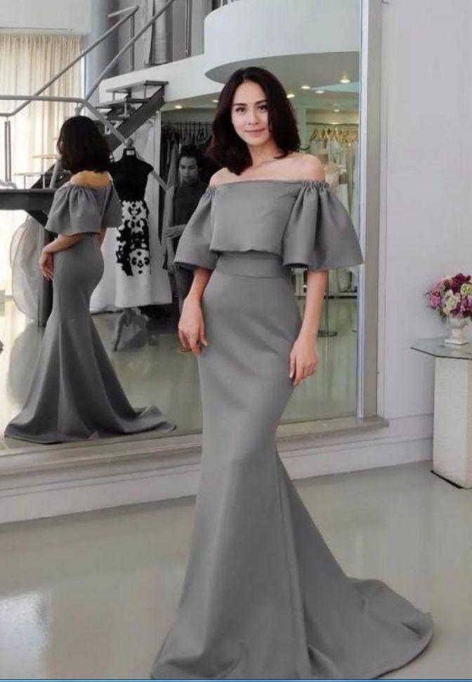 Grau Halbarm Abend Party Kleid Mode Schulterfrei Reißverschluss Zurück Satin Prom Kleider Neue Ankunft Frauen Abendgarderobe Abendkleid