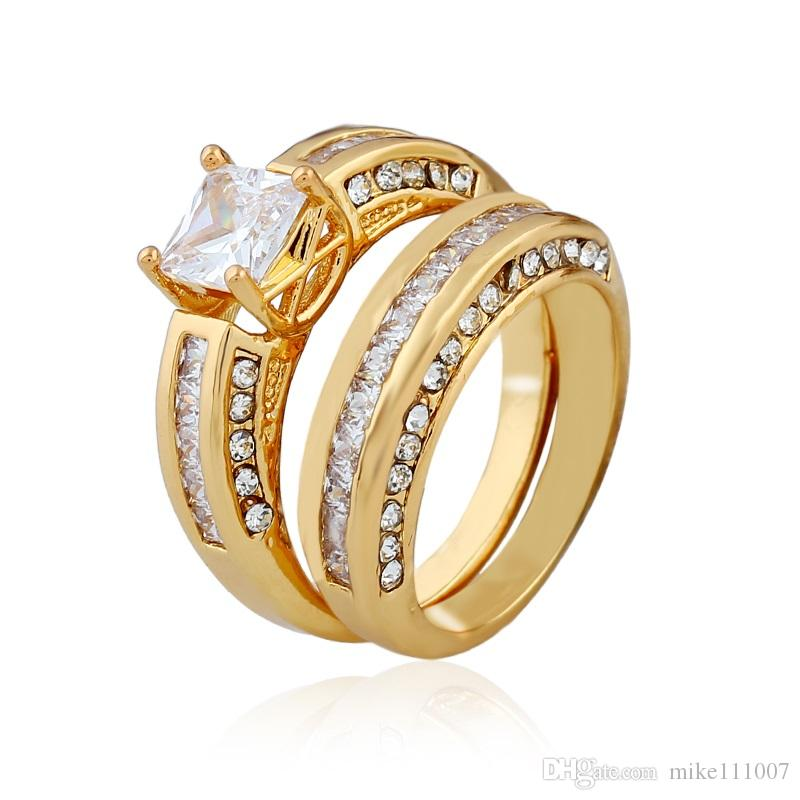 2.10 Ct Princess Cut AAA CZ 14k Gold Plated Wedding Ring Set Women S Size 5  10 UK 2019 From Mike111007 69fd6c971