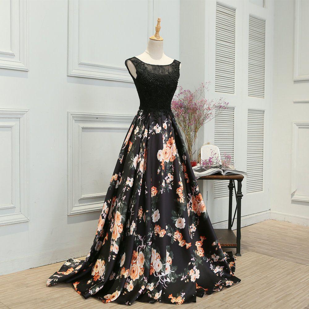제인 비니 2018 블랙 플로랄 댄스 파티 드레스 긴 페르시 레이스 이브닝 가운 라인 민소매 걸스 플라워 패턴 새틴 디너 파티 드레스