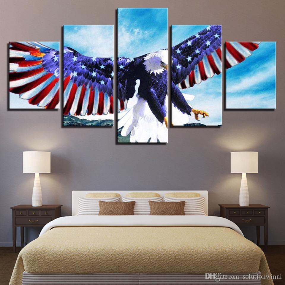 Canvas Decoration Poster Home Wall Art 5 Panel Eagle National Flag For Living Room Modern HD Printed Pictures Painting Frame