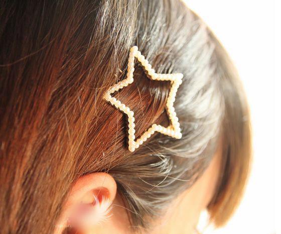 Pinces à cheveux Marque Nouvelle Mode All-match Plaqué Or Bijoux De Cheveux Femmes En Gros Imitation Perle Couronne / Bowknot / Star Barrettes SHR064