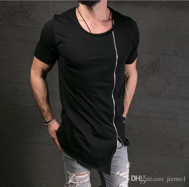 7ae4566c9449 2017 Oblique Long T Shirt Men Hip Hop Black T Shirt Longline Extra Long Tee  Shirt For Male Zipper Tops Over Size Streetwear Tshirt 10 T Shirts Cool  Shirts ...