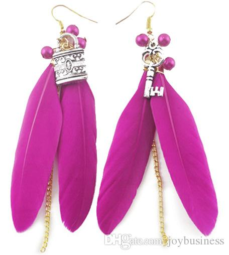 Feather Earrings wholesale Cute Bead Key Lock Light Dangle Eardrop Hot  Brown Purple Blue Green Yellow Orange White JF126