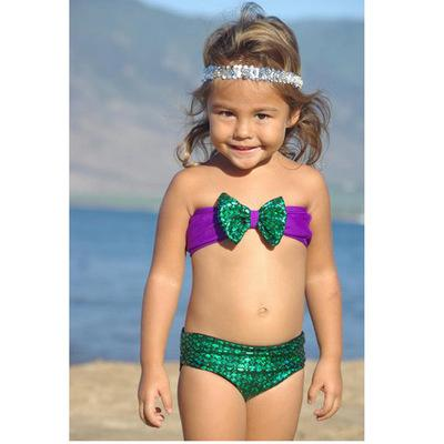 5f8fcb1128 Sequins Mermaid Baby Girls Bikini Kids Girl Swimwear Baby Girls Bowknot Bikini  Swimsuit Swimwear Set for 2~7T Mermaid Swimwear Mermaid Suit Mermaid Sets  ...