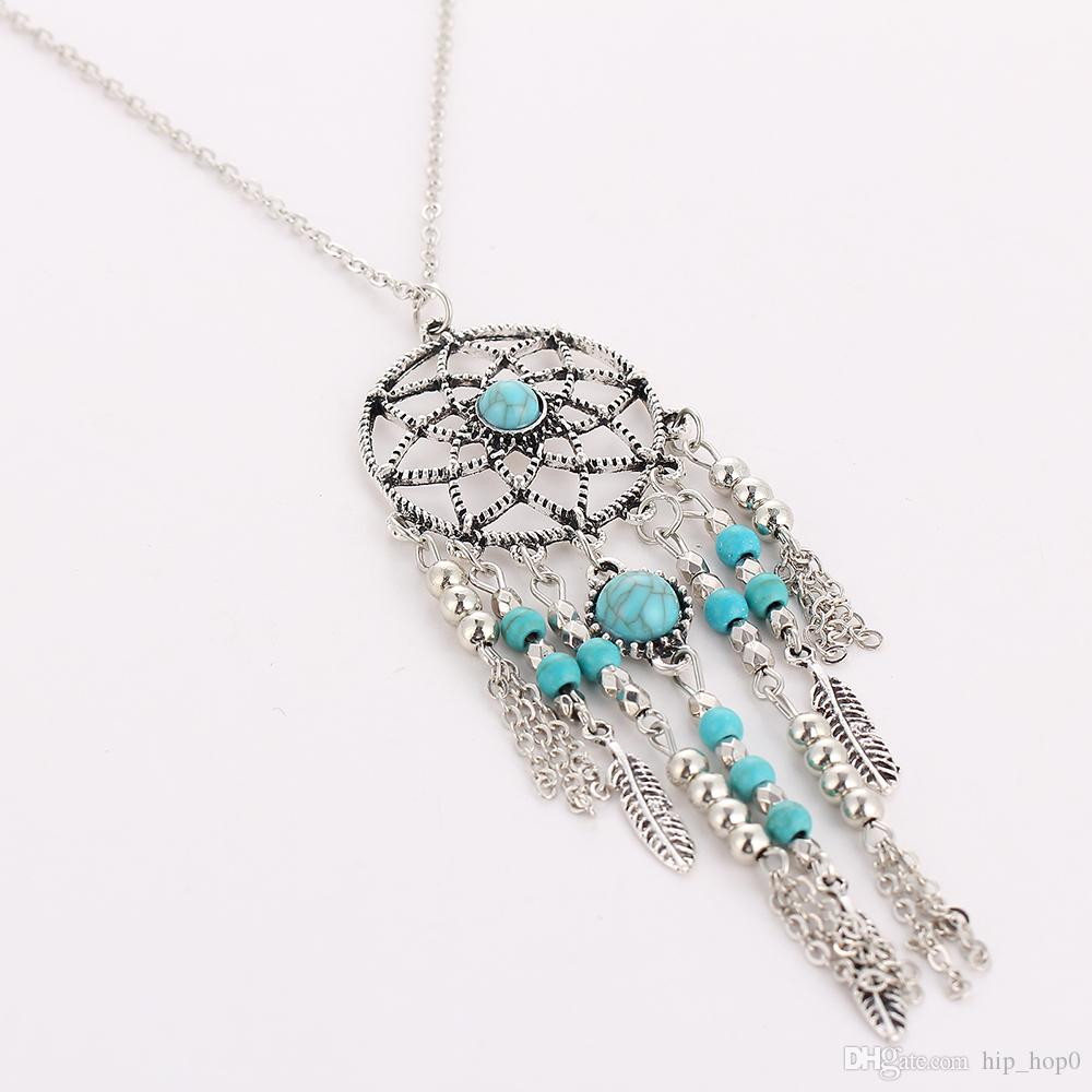 Dreamcatcher Leaf Wing Charms Necklace Turquoise Beads Tassel Pendant Boho Necklace Ethnic Bohemia Jewelry Statement Long Necklace