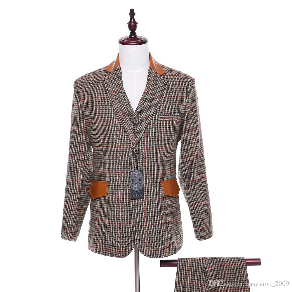 Classic new Red lattice Men's evening dress and business suit jacket + pants + vest custom made