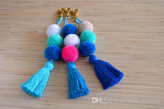 Pom pom keychian Purse charm Tassel keychain Pom pom bag charm Handbag charms Tassel bag charm Pom pom key chain tassels Boho Gypsy /