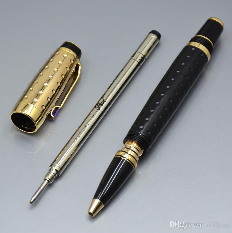 أعلى أسود جودة والذهب الكرة بكرة من ركلة جزاء مع luxurs القرطاسية جوهرة مكتب المدرسة كتابة أقلام لبيع الهدايا