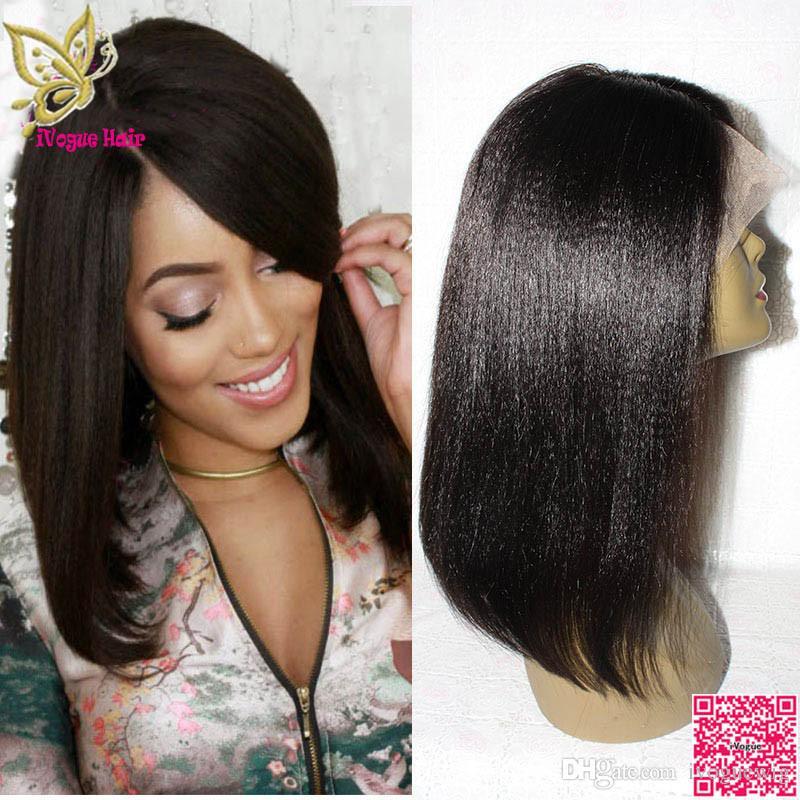 가벼운 야키 스트레이트 밥 Glueless 레이스 전면 인간의 머리 가발 말레이시아 인간의 머리 전체 레이스 가발 흑인 여성을위한