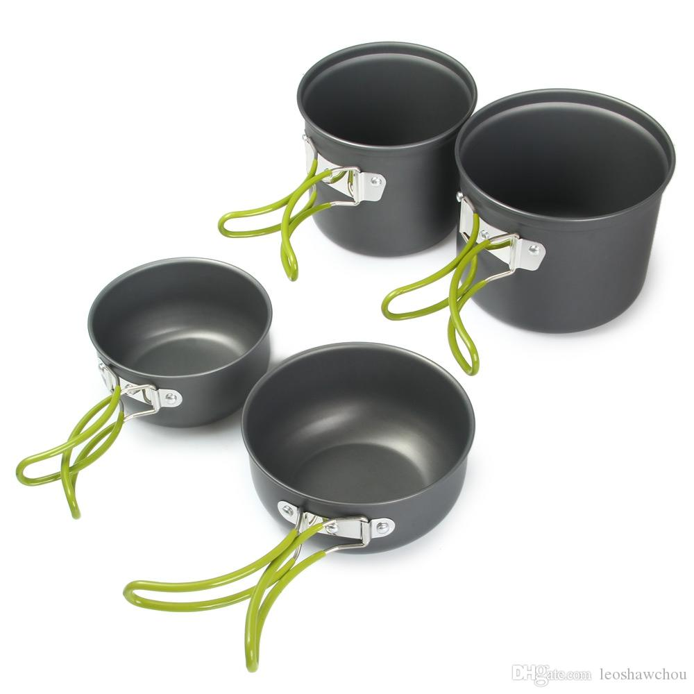 portable de cocinar al aire Set para 2-3 personas antiadherente Ollas acampar al aire libre de la comida campestre del pote de Tazones de aluminio anodizado con Negro bolsa de red