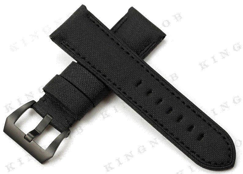 Tissu Montres Kevlar Bracelet Nouveau Buckle Hommes Pour Nylon Panerai Les En 316l Cuir S Noir Option 24mm mynvNw80O