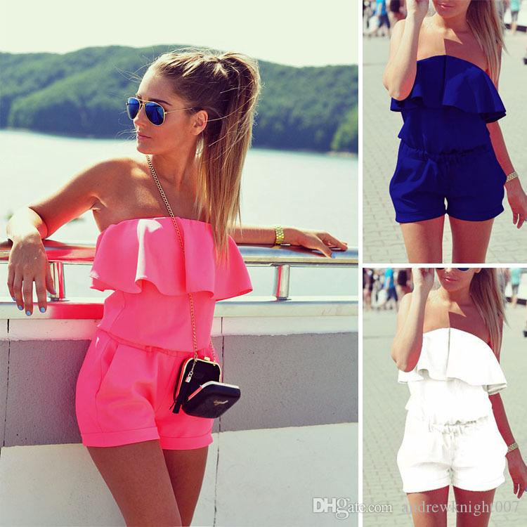 546bf35c1d0 2019 New Women Mini Jumpsuit Summer Solid Ruffles Jumpsuit Sexy Strapless  Tunic Beach Playsuit Shorts Romper Plus Size From Andrewknight007
