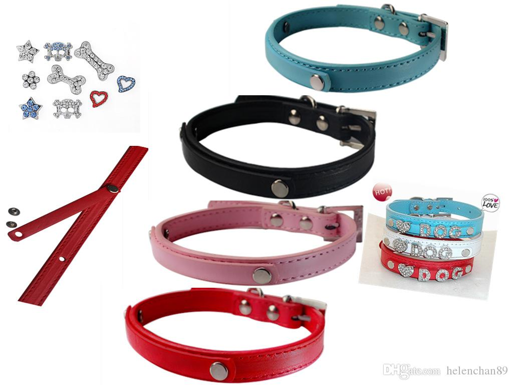 Dog Collar PU Leather DIY Design Crown Pattern Decoration Pet Dogs Neck Collar  Price Exclude Letters