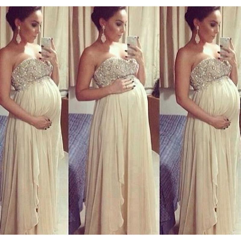 Champagne Maternity Prom Dresses 2018 Fashion Sweetheart Beaded Chiffon A-Line Custom Made Formal Evening Gowns For Women