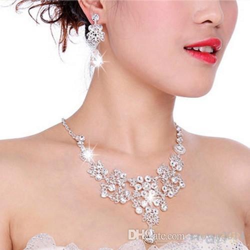 2020 Sıcak Satış Kadın Moda Kore Stil Kristal Düğün Küpe Ayarlanabilir kolye kolye Gelin Takı Seti Ucuz Ücretsiz Gönderim