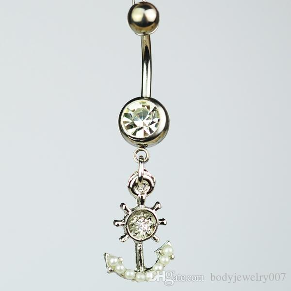 D0515-1   Nice style anchor design Navel Belly ring clear stones stone drop shipping factory price