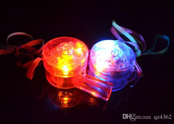 Gemischte LED leuchten Flaschenpfeife blinken Glow Sportpfeife mit Gurt für Partykonzert Disco Hochzeit KTV Chirstmas Geschenk LED Spielzeug