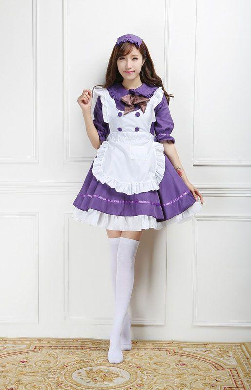 Vente chaude 2017 Violet / Blanc Demi-Manches Anime Maid Uniforme Cosplay Costume Gothique Lolita Mini Robes