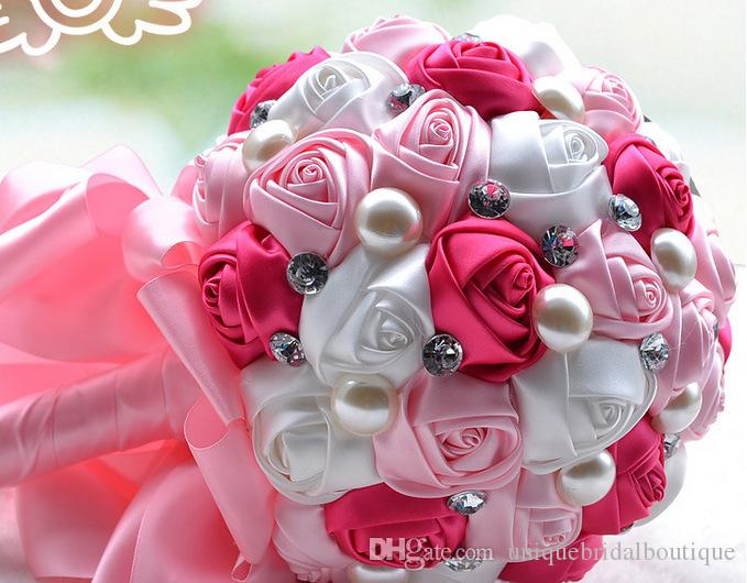 Gelinler için düğün Buket Güzel Kristaller ile El Yapımı Güller Çiçekler Holding Çiçekler Düğün Yıldönümü Gelin Buketi Pembe Fildişi